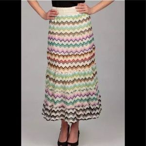 Lapis Multi Colored Tiered Maxi Prairie Skirt Sz L